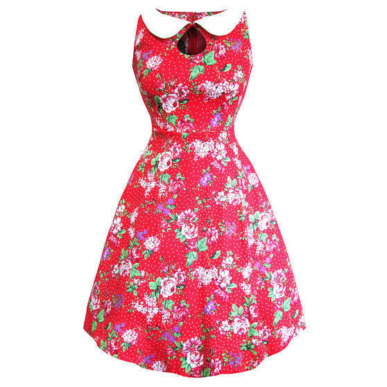 Whispering Ivy Red Floral 1950s Dress