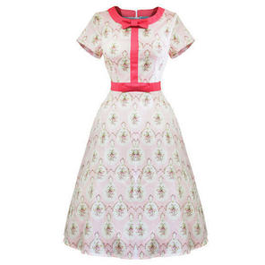 Whispering Ivy Pink Stripe Floral Flared 50s Vintage Party Tea Dress