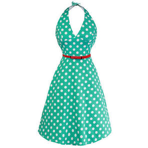 Whispering Ivy Blue Polka Dot Flared 50s Vintage Party Prom Dress