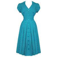 Hell Bunny Harriet Teal Blue Dot 40s Victory WW2 Tea Party Dress
