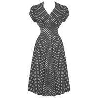 Hell Bunny Harriet Grey Polka Dot 40s Victory WW2 Tea Party Dress