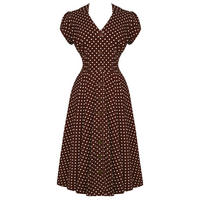 Hell Bunny Harriet Brown Polka Dot 40s Victory WW2 Tea Party Dress