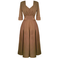 Hell Bunny June Brown 40s Victory WW2 Tea Party Dress