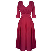 Hell Bunny June Raspberry Red 40s Victory WW2 Tea Party Dress