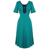 Hell Bunny Alveira Cobalt Blue 40s Victory WW2 Tea Party Dress