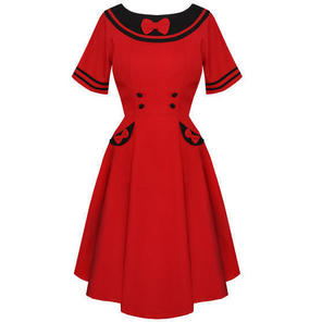 Red Kitsch Pinup Rockabilly Vintage 50s Style Flared Day Tea Dress