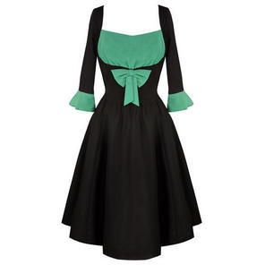 Black Green Bow Pinup Rockabilly Vintage 50s Style Flared Dress