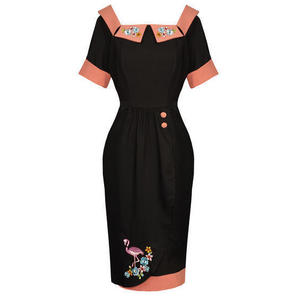 Black Pink Kitsch Pinup Rockabilly Vintage 50s Fitted Pencil Dress