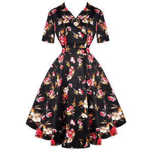 Whispering Ivy Black Floral 1950s Dress