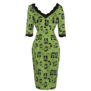 Green Cat Lovers Print Long Sleeve Kitsch Kooky Pencil Work Dress