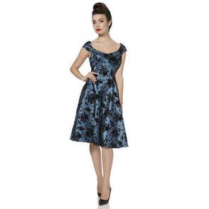 Grey Flocked Taffeta Flared 1950s Style Party Prom Evening Dress