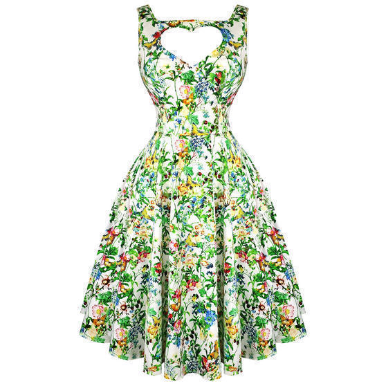 Hearts and Roses London Green Floral 1950s Dress