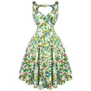 Hearts & Roses London Green Floral Vintage 50s Prom Swing Flared Dress