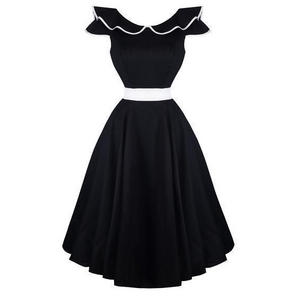 Hearts & Roses London Black Flute Collar 1950s Vintage Party Prom Dress