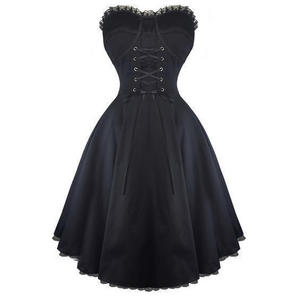 Hearts & Roses London Plain Black Strapless Lace Gothic Party Prom Dress
