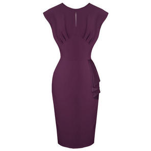 Hell Bunny Bernadette Purple Pencil Dress