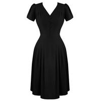 Hell Bunny Moira Black 1940s WW2 Wartime Victory Tea Dress