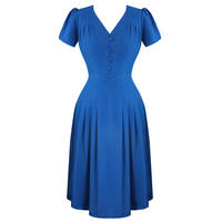 Hell Bunny Moira Blue 1940s WW2 Wartime Victory Tea Dress