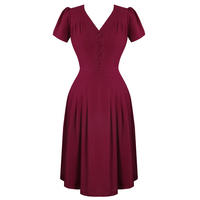 Hell Bunny Moira Raspberry Red 1940s WW2 Wartime Victory Tea Dress