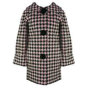 Hell Bunny Kelly Black Pink Houndstooth Vintage 60s Crombie Swagger Winter Coat