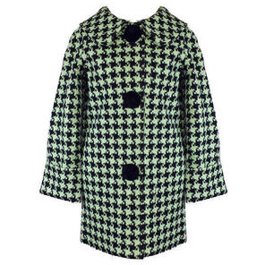 Hell Bunny Kelly Black Mint Houndstooth Vintage 60s Crombie Swagger Winter Coat