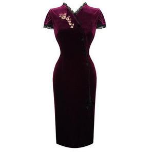 Purple Velvet Pinup Burlesque Vintage Floral Fitted Pencil Dress