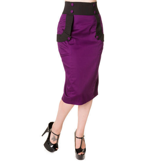 banned black and purple pencil skirt 1950s fashion