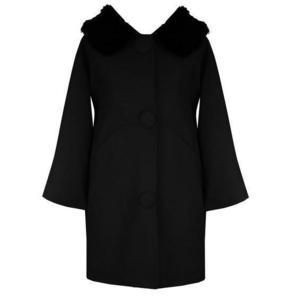 Hell Bunny Audrey Black Formal Vintage 60s 80s Fur Collar Winter Swing Coat