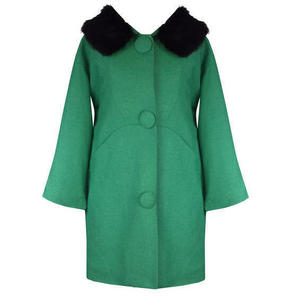 Hell Bunny Audrey Green Formal Vintage 60s 80s Fur Collar Winter Swing Coat