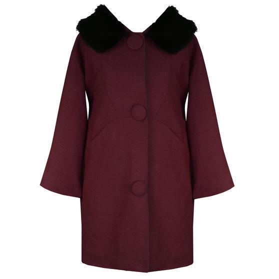 Hell Bunny Audrey Burgundy Coat