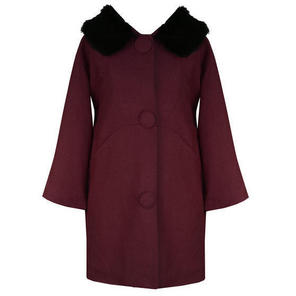 Hell Bunny Audrey Burgundy Formal Vintage 60s 80s Fur Collar Winter Swing Coat