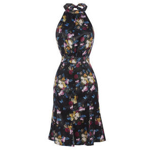 Exotic Black Vintage 50s Satin Floral Chintz Pinup Party Dress