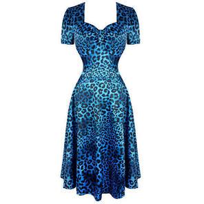 Blue Satin Leopard Print Rockabilly Vintage 50s Flared Party Dress
