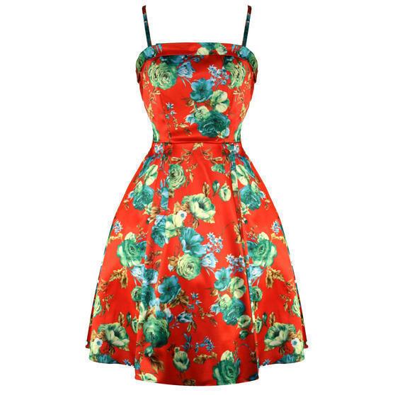 Whispering Ivy Orange Floral 1950s Dress