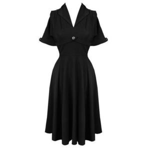 Hell Bunny Jocelyn Black 1940s WW2 Wartime Victory Tea Dress