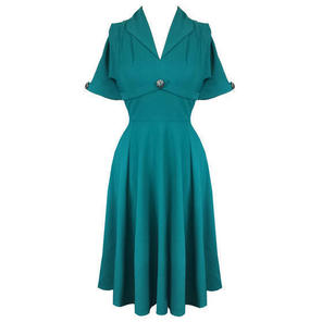 Hell Bunny Jocelyn Teal Blue 1940s WW2 Wartime Victory Tea Dress