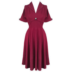 Hell Bunny Jocelyn Raspberry Red 1940s WW2 Wartime Victory Tea Dress