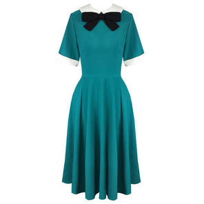 Hell Bunny Kim Teal Blue 1940s WW2 Wartime Victory Tea Dress