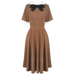 Hell Bunny Kim Tobacco Brown 1940s WW2 Wartime Victory Tea Dress