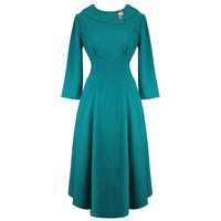 Hell Bunny Benita Teal Blue 1940s WW2 Wartime Victory Tea Dress