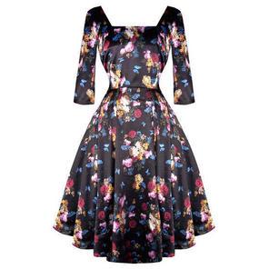 Black Vintage 50s Satin Floral Glamorous Chintz Pinup Party Dress