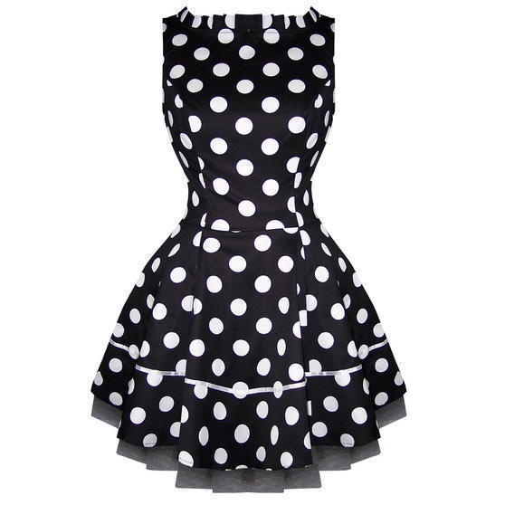 Hearts and Roses London Black Polka Dot 1950s Mini Dress