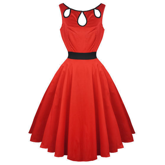 Hearts and Roses London Red Keyhole 1950s Dress