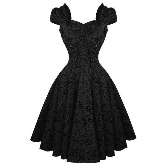 Hearts & Roses London Black Tattoo 1950s Rockabilly Vintage Party Prom Dress UK