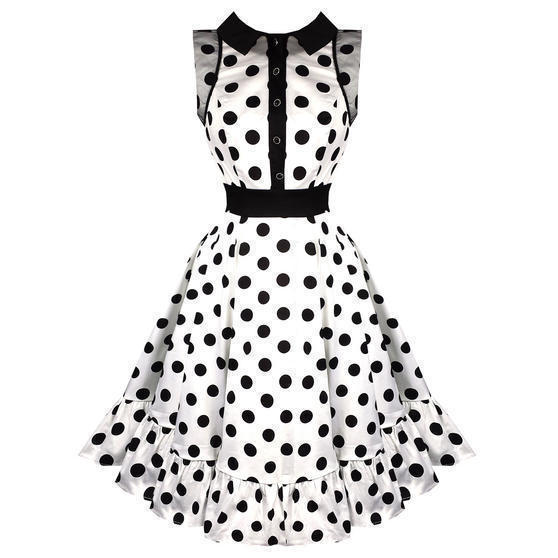 Hearts and Roses London White Polka Dot 1950s Dress