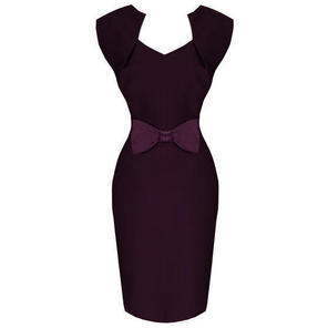 Hell Bunny Brenda Purple 50s Vintage Style Pinup Pencil Dress