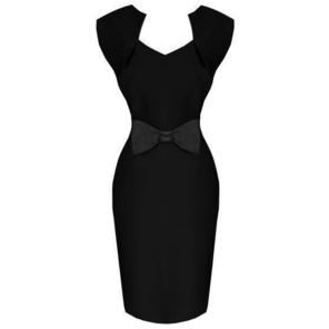 Hell Bunny Brenda Black 50s Vintage Style Pinup Pencil Dress