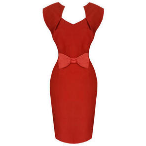 Hell Bunny Brenda Red 50s Vintage Style Pinup Pencil Dress