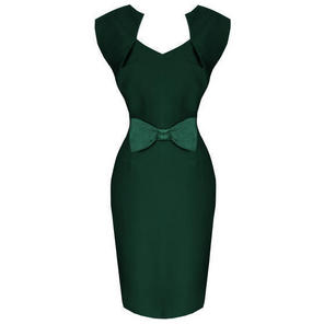 Hell Bunny Brenda Green 50s Vintage Style Pinup Pencil Dress