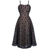 Hell Bunny Bev Black Nude Floral Lace 50s Vintage Party Prom Evening Dress